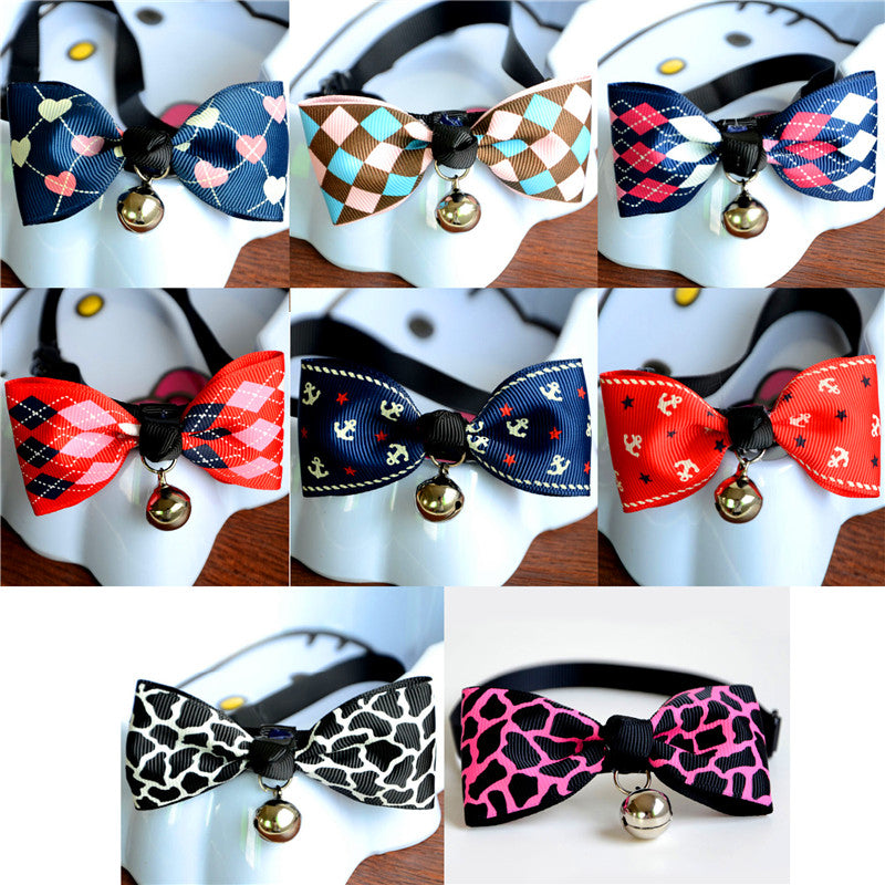 Adjustable Pet Cute Bow Tie With Bell