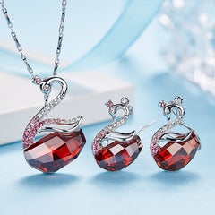 Elegant Crystal Swan Jewelry Set