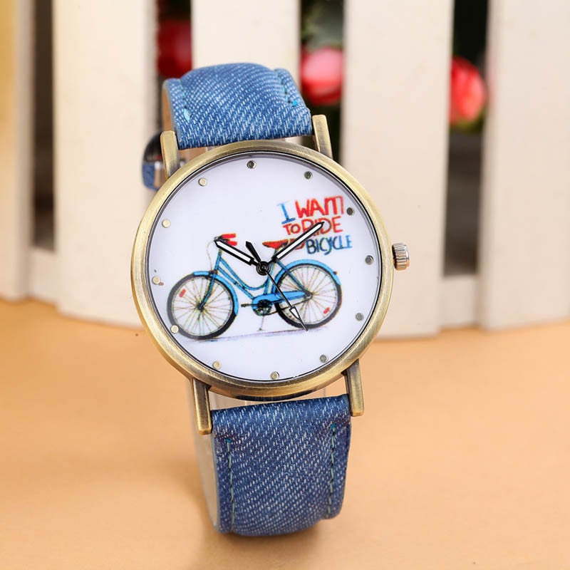 Canvas Fabric Leather Strap Bicycle Wristwatch For Women