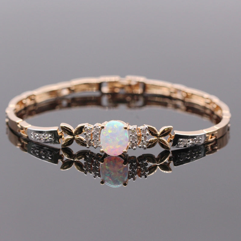 Elegant White Fire Opal Bangle Bracelet