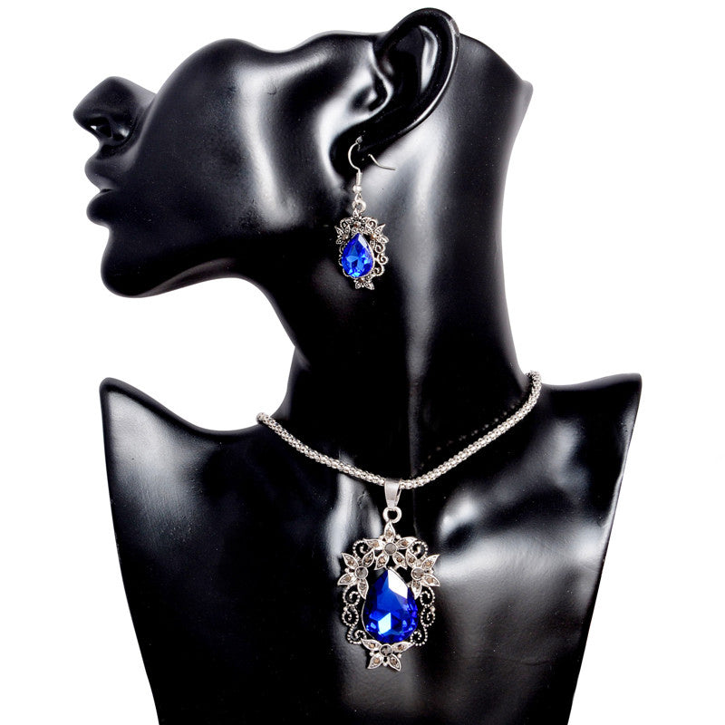Crystal Water-drop Shaped Flower Jewelry Set