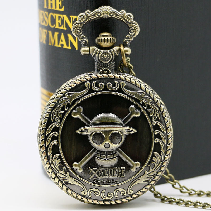 Bronze Skull Printed Pocket Watch