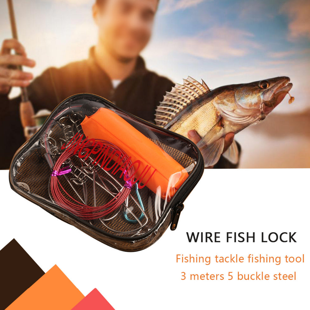 5 Snaps Stainless Steel Fishing Rope With Floating Ball