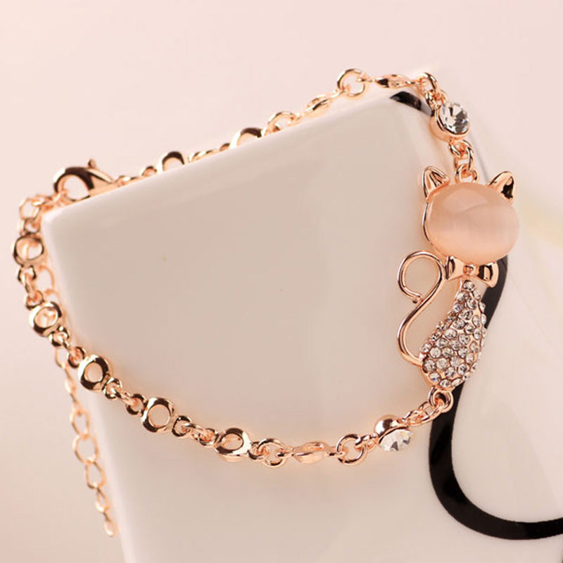 Cute Zircon Cat Charm Bracelet