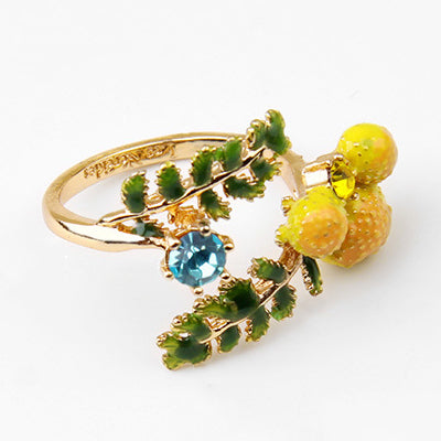 Cute Yellow Mandarin Gem Leaf Ring For Women