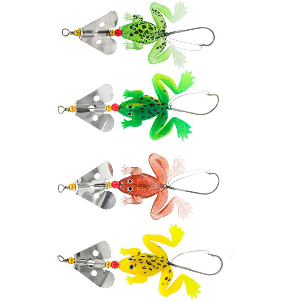 4pcs Soft Rubber Frog Lures
