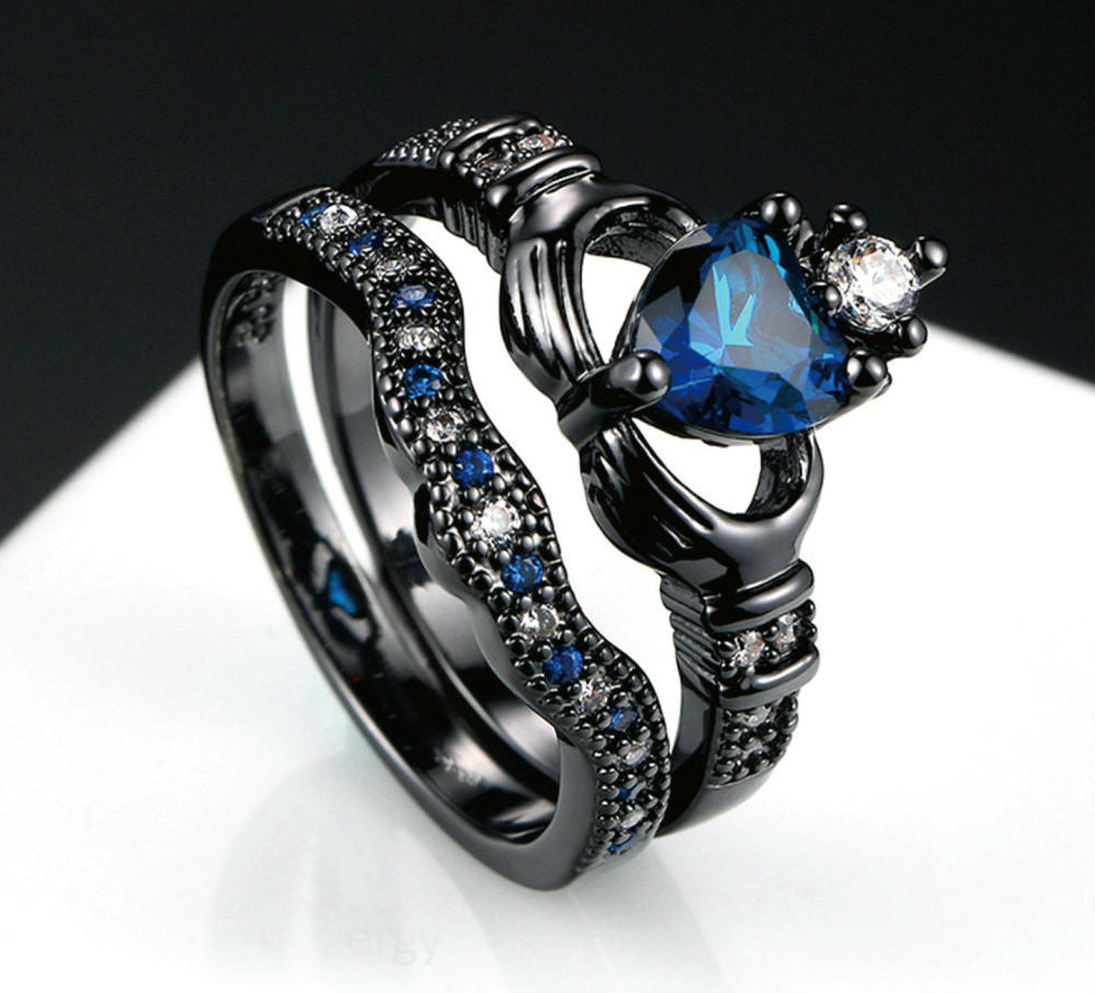 Blue Heart with Zircon Crown Fashionable Ring