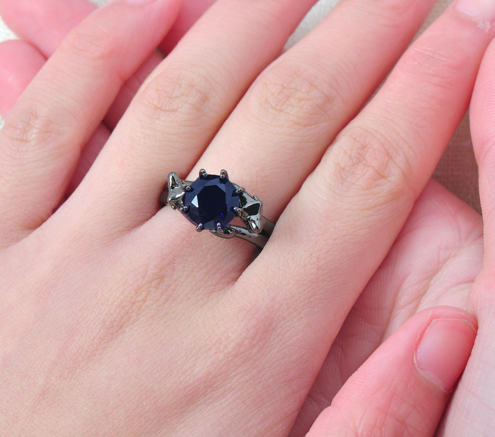 Black Gold Filled Blue Zircon Stoned Ring For Women