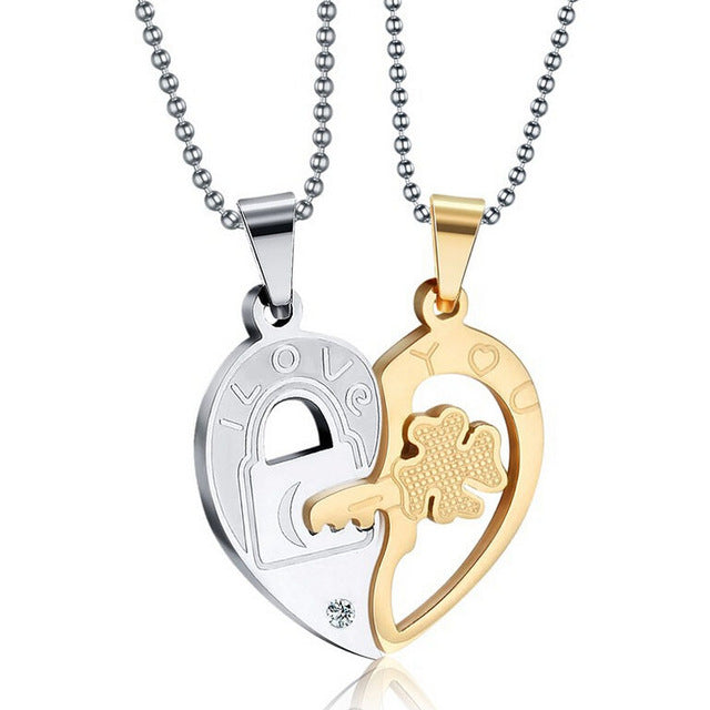 two steel heart shopinux half v products couple pendant necklace