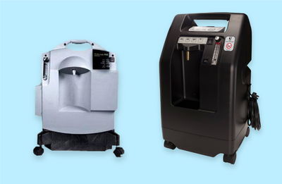 white and black Portable Oxygen concentrators on a light blue background