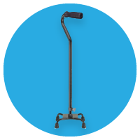 Black cane used as a mobility aid at The Breathing Shop