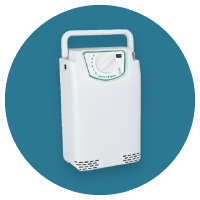 White portable oxygen concentrator at The Breathing Shop