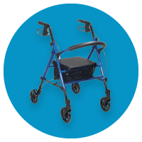 Blue modern rollator on blue background at The Breathing Shop