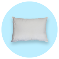 White pillow used for bedroom safety on a light blue background at The Breathing Shop