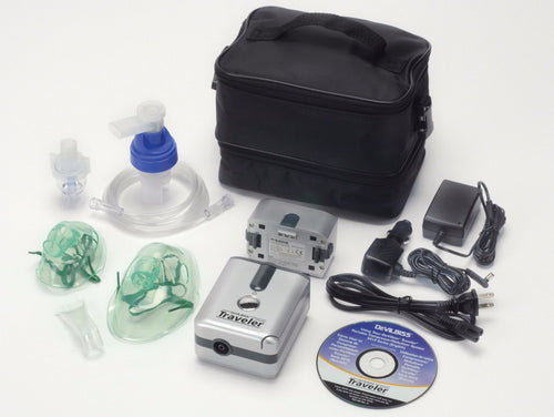 DeVilbiss Traveler Portable Compressor Nebulizer System Battery Included $97.00 Item # 6910P-DR. The Breathing Shop Free Shipping