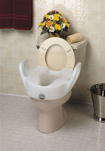 Lock-On Elevated Toilet Seat with Arms