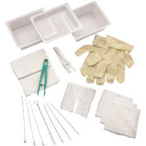 Complete Tracheostomy Cleaning Tray with 2 Vinyl Latex Gloves