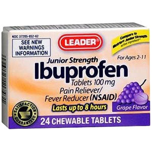 Leader Junior Strength Ibuprofen Grape Chewable Tablets (24 Count)