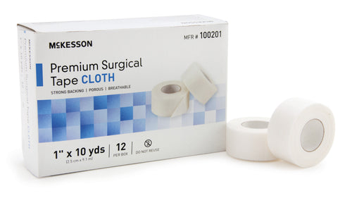"""McKesson High Adhesion Silk-Like Cloth Non-Sterile Medical Tape, 1"""" X 10 yd."""