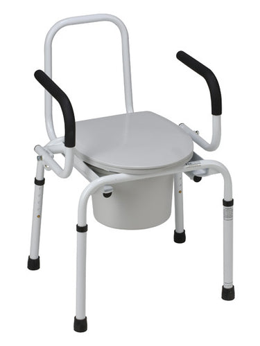 Drop-Arm Steel Commode