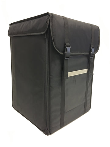 This Backpack take away bag is ideal for carrying takeaway Pizza Boxes, drinks and most takeaway products. You can adjust the shelves to the height you require, the combinations are endless and will accommodate a variety of boxes, cartons and trays. Each bag has rucksack shoulder straps and an adjustable waist band for