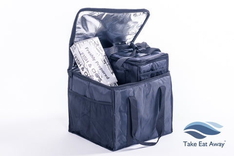 CC1 Food Delivery Bags- 2 Bags- Insulated Hot/Cold Deliveries Bags with mesh pockets T17/T31