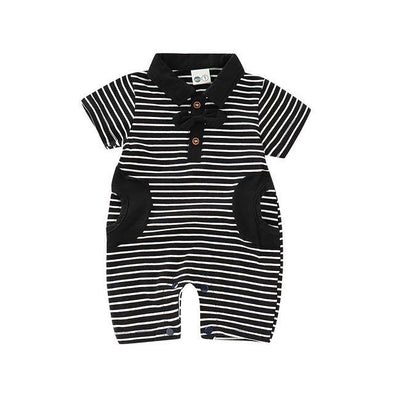 Black Striped Gents Romper-romper-Lavendersun