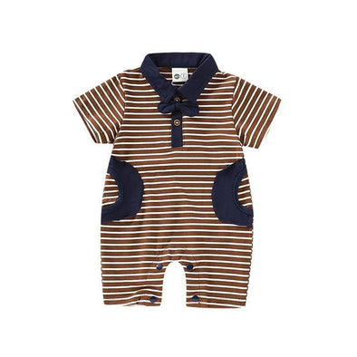 Brown Striped Gents Romper-romper-Lavendersun