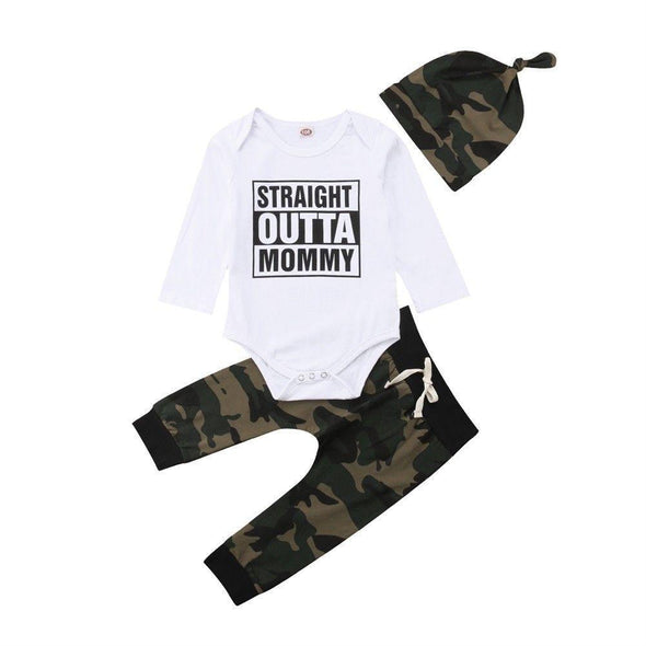 Camo Straight Outta Mommy 3 Piece Set-outfit-Lavendersun