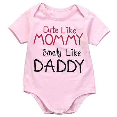 Cute Like Mommy Smelly Like Daddy Onesie-onesie-Lavendersun