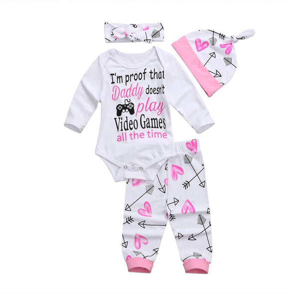 Daddy Doesnt Play Video Games All The Time 4 Piece Set-4 piece set-Lavendersun
