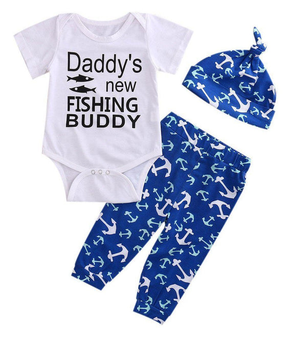 Daddy's New Fishing Buddy 3 Piece Set-outfit-Lavendersun