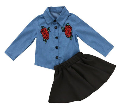 Denim Flower 2 Piece Set-outfit-Lavendersun