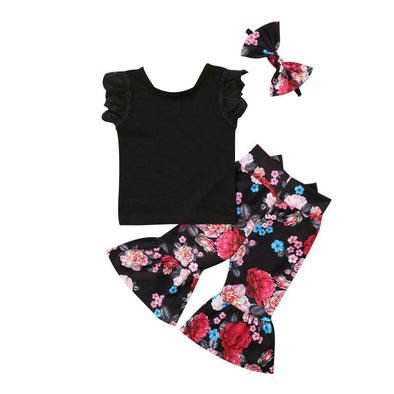 Flowers On Black 3 Piece Set-outfit-Lavendersun