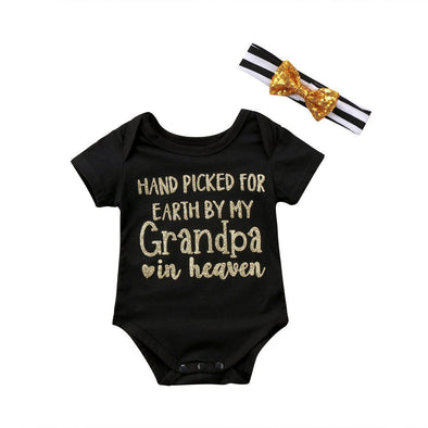 Hand Picked For Earth By My Grandpa In Heaven Onesie-onesie-Lavendersun
