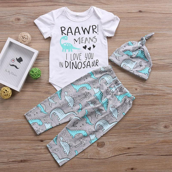 I Love You In Dinosaur 3 Piece Set-outfit-Lavendersun