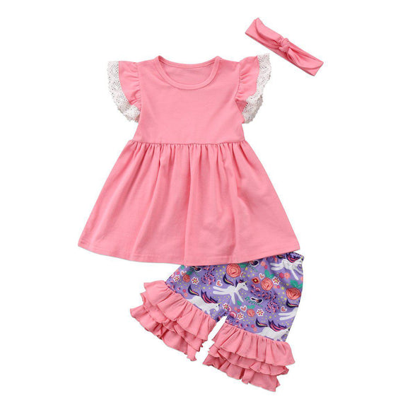 Pink Unicorn Chick 3 Piece Set-outfit-Lavendersun