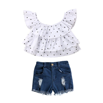 Polka Dot With Jeans 2 Piece Set-outfit-Lavendersun