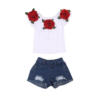 Punk little rose girl 2 piece set-outfit-Lavendersun