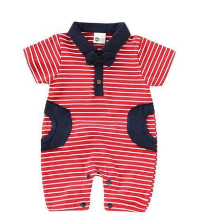 Red Striped Gent Romper-romper-Lavendersun