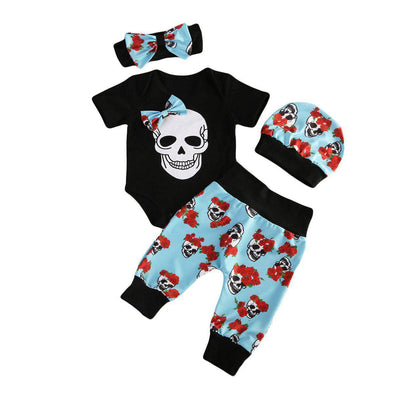 Skulls and flowers 4 piece set-outfit-Lavendersun