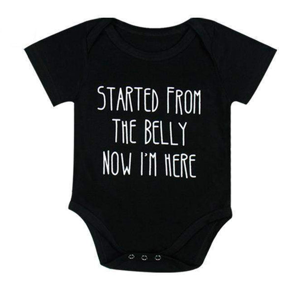 Started From The Belly Now I'm Here Onesie-onesie-Lavendersun