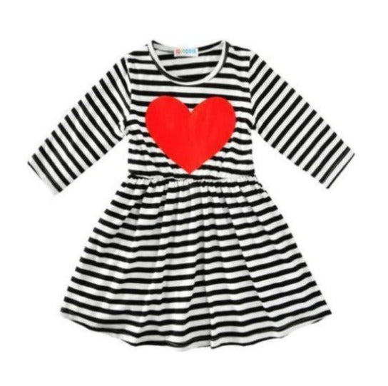 Striped Heart Dress-dress-Lavendersun