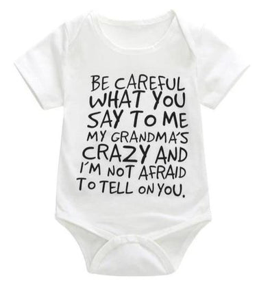 White Be Careful What You Say To Me My Grandma's Crazy And I'm Not Afraid To Tell On You Onesie-onesie-Lavendersun