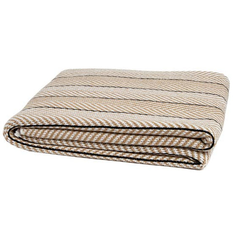 Eco Herringbone Pinstripe Cotton Throw