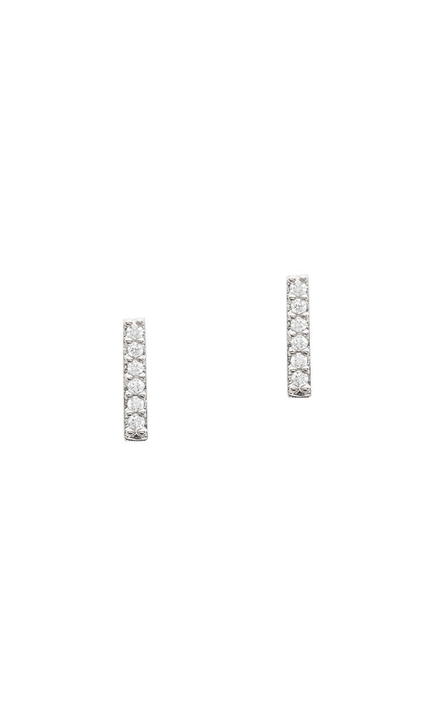 Silver CZ Stick Earrings