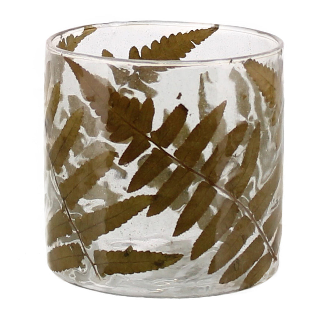 Enameled Fern & Sand Hurricanes (medium)