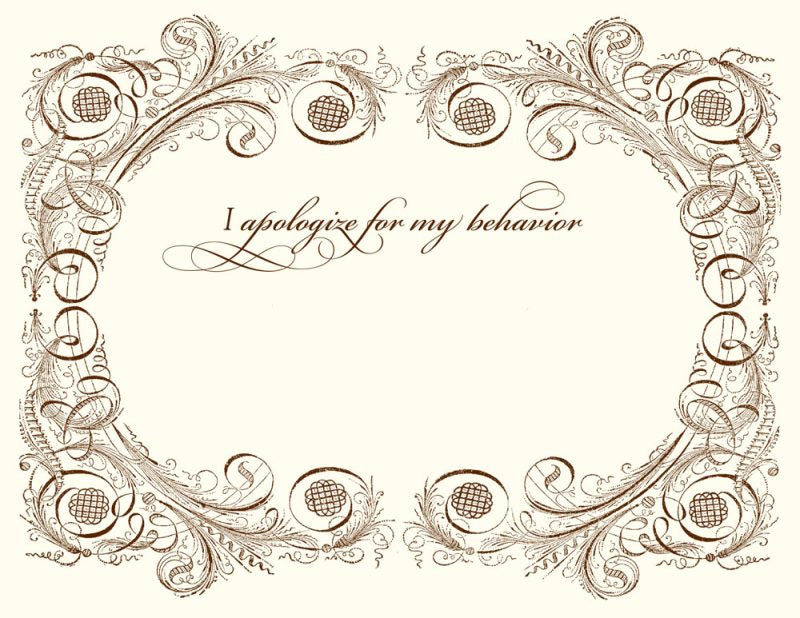 Bad Behavior Apology Card