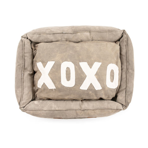 Medium Washed Canvas XOXO Dog Bed