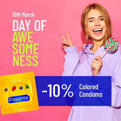 day of awesomeness ten percent off for colored condoms worldcondoms